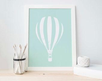 Mint Green Printable, Green and white, Hot Air Balloon, Green Nursery Print, Nursery Printable, Instant, Balloon Printable, Baby Boy  Decor