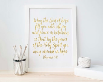 Romans 15:13, Bible Verse Printable, Christian Verse, Scripture Print, Gold and White Print, Calligraphy Wall Print, Scripture Art Print