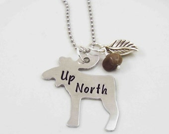 Moose Necklace, Aluminum Moose, Northern Living Necklace, Up North, Michigan Necklace, Northern Michigan, Petoskey Stone Bead