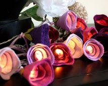 Purple rose fairy lights, girls room decor, indoor wedding lights, new home gift, romantic home decor, girls birthday gift