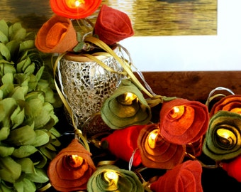 Fall Autumn Fairy lights, Autumn decor rose lights, Autumn wedding lights, autumnal colours