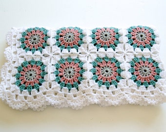SALE %20 OFF Ready to ship Baby crocheted blanket all wool, White with Colorful Motifs,  35,4''x35,4'' Square, Chunky