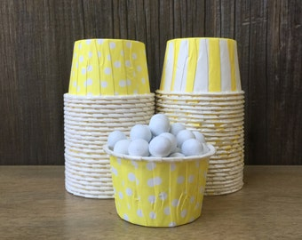 Yellow Paper Snack Cups - Set of 48 - Polka Dot and Stripe Candy Cup - Birthday Party - Ice Cream Cup - Paper Nut Cup - Same Day Shipping