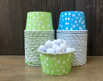 48 Lime and Blue Polka Dot Candy Cups--Nut Cups--Wedding--Baby Shower-- Birthday Party