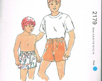 Size 4-14 Boy's Underwear Sewing Pattern - Front Fly Boxer Shorts Sewing Pattern - Sewing For Boys -Kwik Sew 2179