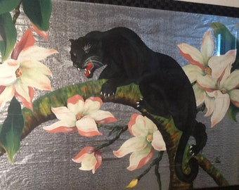 Mid Century Modern Panther Painting