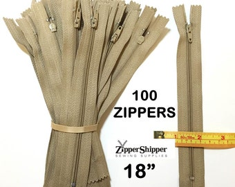 Bulk Zippers, Beige Zippers, 18 Inch, #3 Nylon Coil Closed End, For Dresses + More For Sewing, 100 Pieces