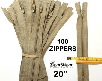 Zippers Wholesale, 20 Inch Zippers, Beige #3 Nylon Coil Closed End (46 cm), Lightweight for Purses, Pillows, Dresses & More, 100 Pieces
