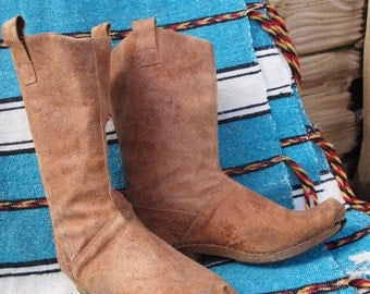 French brown leather cowboy boots/tan boots/southwestern style boots/cowgirl boots/rustic leather boots/clogs/knee high boots/tall boots