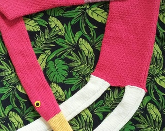 Gorgeous Vibrant Handknitted Bright Pink Flamingo Scarf
