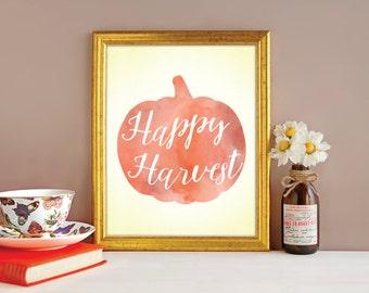 FALL DECOR - Fall art - Pumpkin Art - Fall prints - Fall wall art - Pumpkin Print - Happy Harvest - Inspirational Decor - Fall wall art