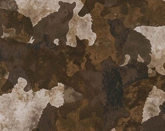 Enchanted Pines Fabric - Earth Bears by McKenna Ryan for Robert Kaufman AYC 15575 169 - Half Yard Price