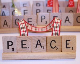 Christmas Ornament, Peace Ornament, Peace Christmas Ornament, Home, Scrabble Ornament, Scrabble, Noel, brr, hoho, Jesus, Faith, Family, Love