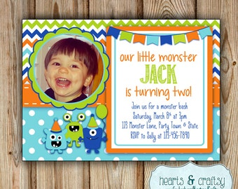 Monster Party Invitation with Photo - Monster Birthday Invitation - Personalized Print-Your-Own