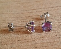 SALE! Alexandrite stud earrings, in solid sterling silver - 3mm, 4mm, 5mm or 6mm sizes!