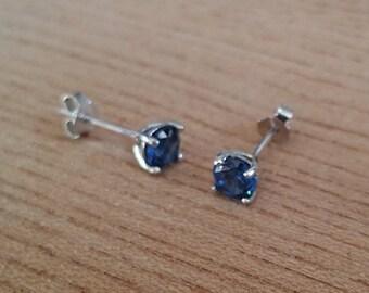 Genuine London Blue Topaz stud earrings, in solid sterling silver - 3mm, 4mm, 5mm or 6mm sizes!