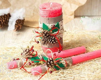 Wedding Unity Candle, Personalized Christmas Wedding Candle, Rustic Unity Candle Set, Unity Ceremony, Red Pillar Candle, Ceremony Candle