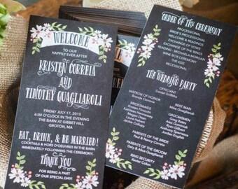 Wedding Programs - Chalkboard - Unique Wedding Program - Rustic Wedding - Tall Wedding Program