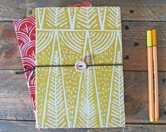 Forest hand printed organic cotton notebook