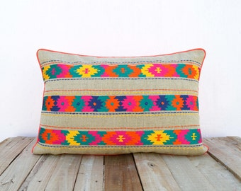 Colorful bohemian style linen pillow cover, embroidered moroccan pillow case, tribal indian cushion cover, peruvian, aztec pillow, ethnic
