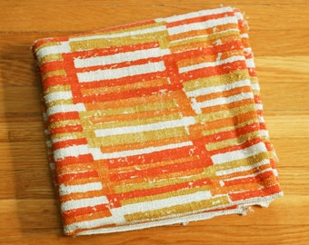 Vintage 1960s Orange and Gold Patterned Linen Fabric