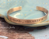 "Bronze - 1/4"" Custom Hand Stamped - Cuff Bracelet - Personalized - Coordinates - GPS - Wanderlust- Quote - Inspirational - Affirmation HLJ"