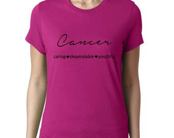 Cancer Zodiac Sign Ladies T-Shirt, Choose a Color