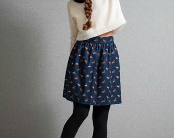 Mini Skirt, Blue skirt, pleated skirt, animal pattern skirt, cute skirt, duck skirt, high waist skirt, winter skirt