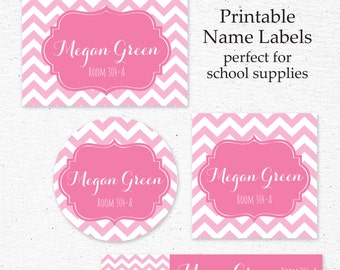 Back to School Name Label Set | Printable | Personalized Name Labels for School Supplies | School Supply Labels | Pink Chevon