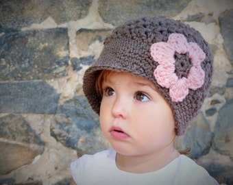Newsboy Hat with Flower, Brown and Pink