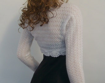 Hand knitted Wedding Bridal Kid Mohair White Glitz colour Shrug Bolero, long sleeves. Wedding accessories, Size S