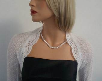 Made to order. Hand knitted Wedding Bridal Kid Mohair White Glitz colour Shrug Bolero, long sleeves. Wedding accessories