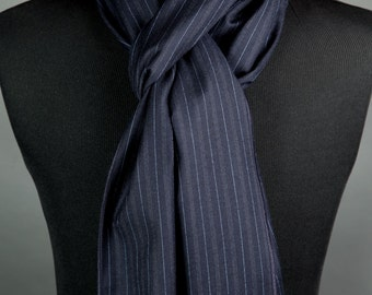 Navy Blue Scarf Long Scarf Men's Wool Scarf Handmade Scarves Luxury Scarves High Fashion Scarves Neck Scarves Men's Gifts Winter Scarf