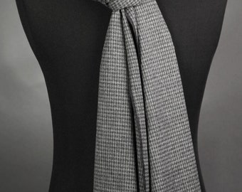 Charcoal Gray Scarf Wool Scarf Long Scarf Winter Scarf Men's Scarves Plaid Scarf Handmade Scarf Fashion Scarf Neck Scarves Winter Scarf