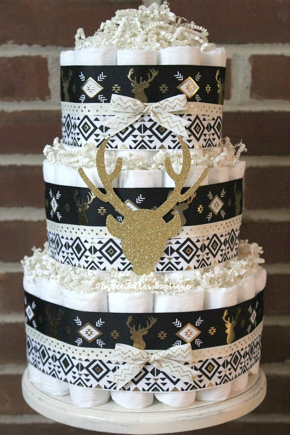 deer diaper cake buck baby shower aztec gender neutral baby shower