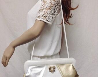 Joseph B, Large leather purse,bags ,purses,leather, White, Gold ,Silve,70s ,80s