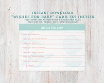 unisex baby wishes card, wishes for baby card, baby shower game, unisex baby shower, beach baby shower, shower printables, aqua coral shower