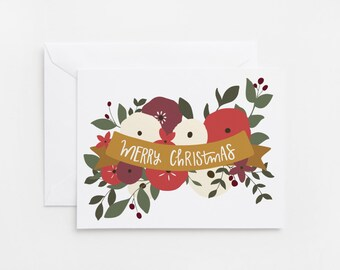SALE | Christmas Card Set | Merry Christmas Floral Holiday Card Set, Illustrated Christmas Cards