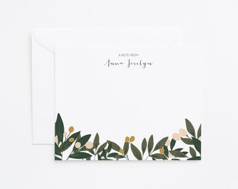 Personalized Flat Card Set of 12 | Personalized Stationery, Floral Stationery Notecards : Orchard Collection