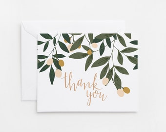 Thank You Card Set of 8 | Illustrated Floral Thank You Cards with Hand Lettered Calligraphy: Orchard Thank Yous