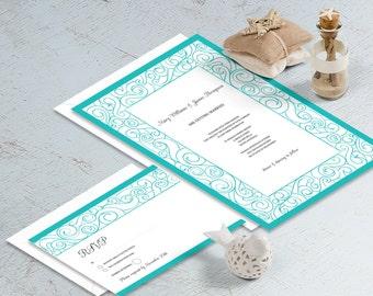 Wedding Invitations Template Printable Set Waves, Blue, Summer Wedding, Beach Wedding, Simple Wedding Invitation