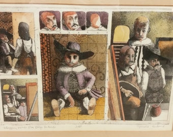 Early Jerrold Jerry Belland Linoleum Block Etching Signed Numbered #5 of 25 Velazquez Paints Don Diego De Acedo