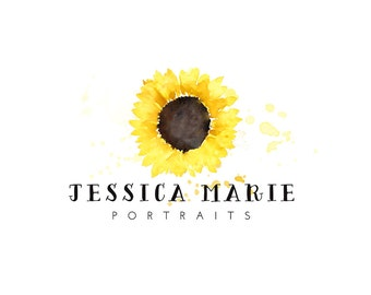 Watercolor Logo, watercolor design, photography, watermark, painted, Newborn photography logo, maternity logo, sunflower, floral
