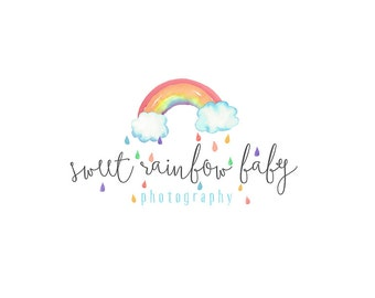 Watercolor Logo, watercolor design, photography, watermark, painted, Newborn photography logo, maternity logo, Rainbow, Clouds