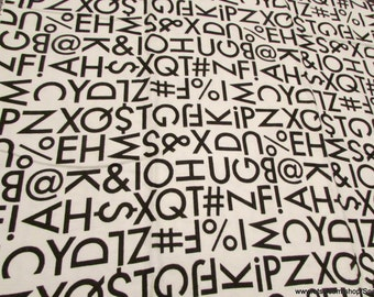 Flannel Fabric - Typography Letters and Symbols - 1 yard - 100% Cotton Flannel