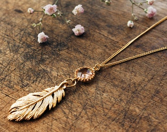 Boho feather necklace gold plated