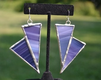 Stained glass jewelry, stained glass earrings, dangle stained glass jewelry- Dangle Earrings