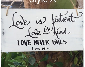Love is patient, love is kind sign, wedding signage