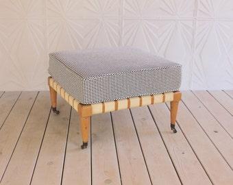 T.H. Robsjohn Gibbings Widdicomb Style Rolling Ottoman Bench New Herringbone Fabric 50's 60's Retro Mid Century Modern