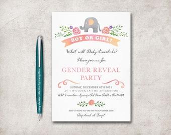 Gender Reveal Invitation Printable, Gender Reveal Party Invitation, Boy or Girl Gender Reveal, Elephant Gender Reveal Invite, Digital